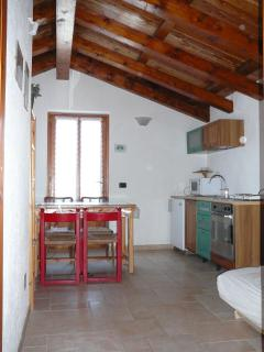 the kitchen and first sleeping room