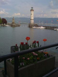The lighthouse and the lion at Lindau harbour entrance