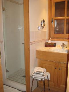 Shower Room with Vanity Unit, A Large Wall Radiator,Shaving Mirror, Hair dryer & seperate WC