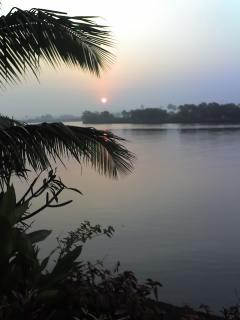 Beautiful sunset by river Sal