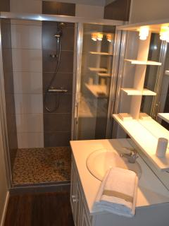 Large shower - basin and cupboard