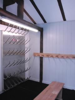 Ski room with heated boot dryer
