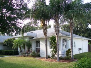 Front of Villa and palm trees