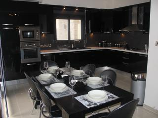 Stylish modern kitchen with integrated dishwasher and stainless steel appliances