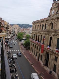 Looking left on the balcony with the view past Hotel de Ville in rue Felix Faure