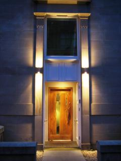 This beatiful front door was made by Paul Hodgkiss, a local artist