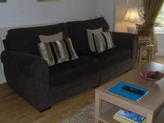 living room has cosy sofas coffee table and superb views with also , t.v and wifi access