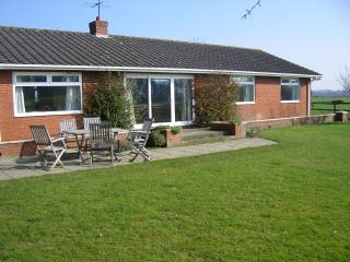 lovely lawned garden with mature shrubs for privacy and plenty of room for children to play