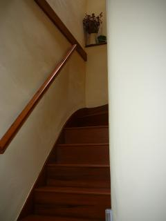 Stairs leading to living area