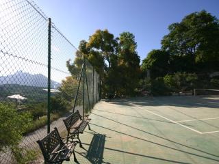 Morning view of tennis court and mountains!