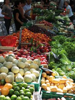 Carcassonne market, held every Saturday, is a marvellous spectacle, with fresh produce in abundance