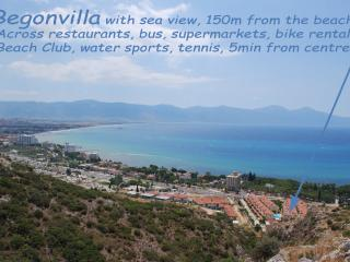 Begonvilla sea & pool view, sea 150m, long rental!, Kusadasi