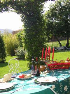 sunny  beautiful garden with wrought iron tables and chairs