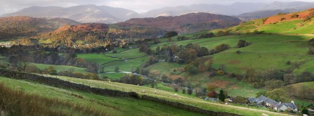 The view from Grove Farm to Coniston Old Man