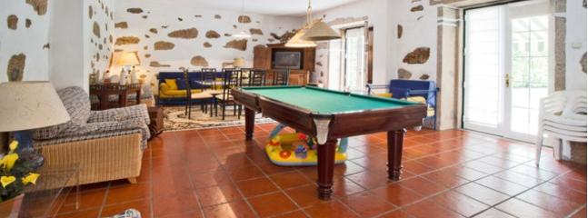 On the living room there is a pool table.