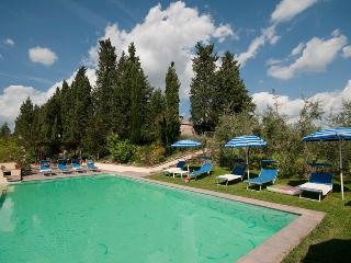 Renovated 5 bedroom villa surrounded by Tuscan vineyards, fetures private pool, log fire and terrace, San Gimignano