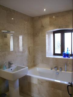 Newly refurbished bathroom in Cider Barn with walk in shower/wetroom.
