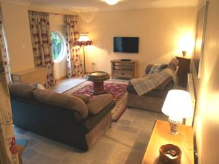 Living room with sofa bed and freeview TV with DVD