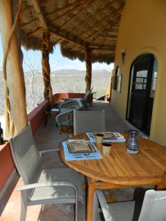 The terrace is ideal for outdoor dining, whale and bird watching.