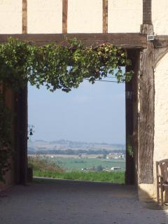 View through  archway across the valley