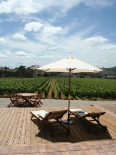 One of the two eating areas, giving on to the vineyard