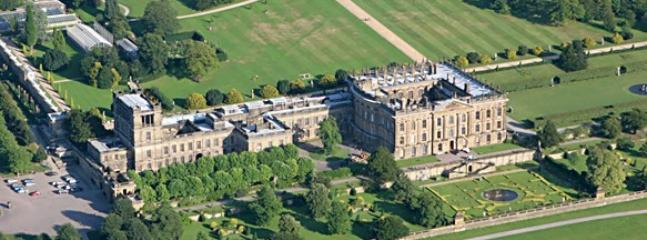 Aerial View of Chatsworth House, Restaurant  & Gardens~Jewel of The Peak (10miles West by car)