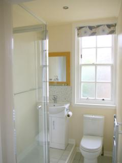 Shower room with hand basin and toilet