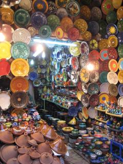 Local potteryware for sale in the souk.