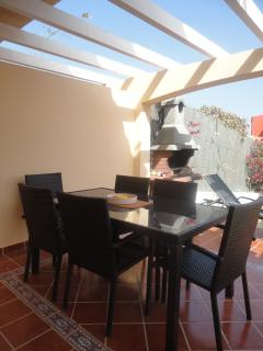 Spacious terrace & brick BBQ in pretty secluded & gated gardens.