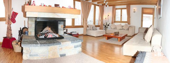 Open Plan Lounge with Log Fire