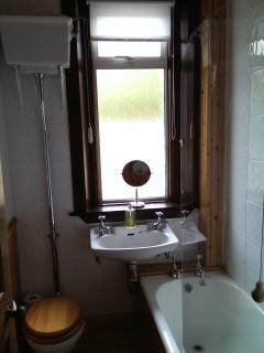 Toilet with bath and shower over