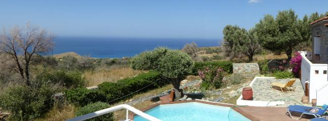 Our pool and sun decking with sunshine all day.   Great sea views