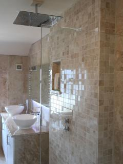 Relaxing Rain Head Shower wetroom with  underfloor heated Italian marble