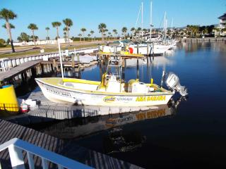 One of many pictures of the Marina on site. This one shows a charter fishing Boat