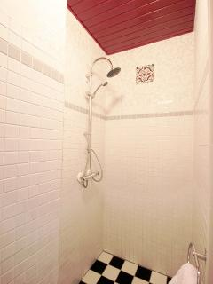 Bathroom with waterfall shower and handshower