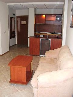 Living room area of apartment.