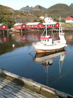 Tind harbour (Our cabin is one of the red ones in the background)