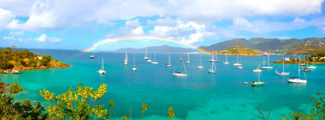 Rainbow and view from deck, taken by a guest