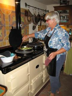 Heidi cooking on her AGA