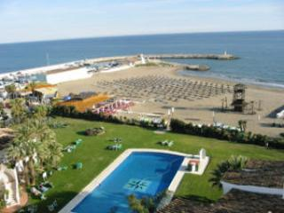 view of swimming pool and beach