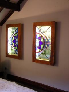 stained glass in master bedroom