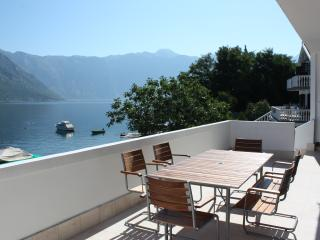 View of Kotor Bay from the spacious terrace with alfresco dining for 6