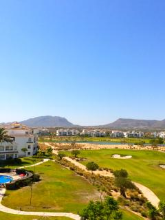 Golf, Lake and Mountain & Swimming Pool views from the Patio.