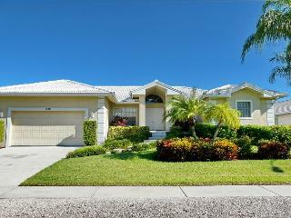 Pet-friendly waterfront home with all-tile interior and heated pool, Marco Island
