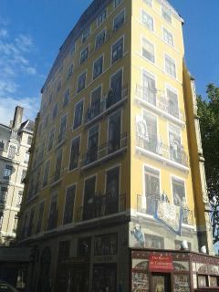 Building with mural art - there are many of these in the area