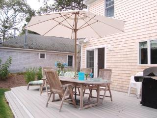 Backyard with Deck, dining and gas grill - 39 Old County Road South Harwich Cape Cod New England Vacation Rentals