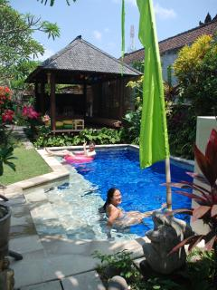 Relax in the water on the wide sandstone steps or swim in the very clean, cool water 1.6M deep