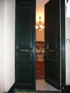 Elegant entrance doors in to Apartment. There are high ceilings throughout the apartment