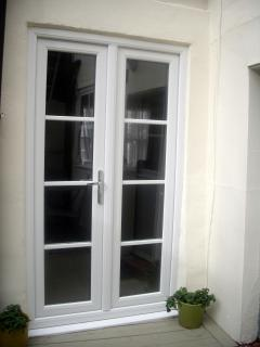 New french doors leading from