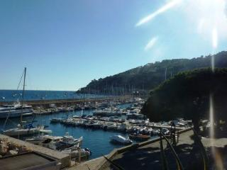 Sunny panoramic seaview terrace parking beach, Villefranche-sur-Mer
